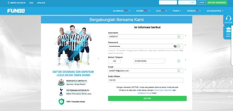 Formulir pendaftaran akun di Fun88