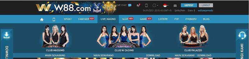 Cara Bermain Judi di Live Casino W88